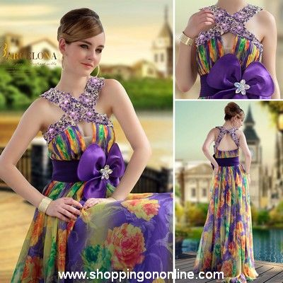 Colorful Evening Gown - Big Flower Waist $236.00 (was $280) Click here to see more details http://shoppingononline.com #ColorfulEveningGown #ColorfulEveningDress #ColorfulDress #CustomMadeDress
