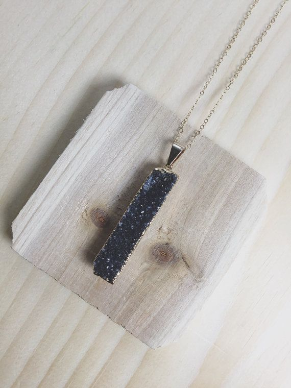 Black Druzy, Rectangle Druzy Pendant, Boho Jewelry, Boho Necklace, Bridesmaid Jewelry  Wouldnt you love to walk into a room and have your sparkly black Druzy necklace catch all the attention?This beautiful Druzy necklace is perfect to stand on its own or wear with other layered necklaces.  Is this a present for yourself? Or, if its a gift, here are some ideas: Maid of Honor gift, Birthday Gift for Her, Anniversary for Wife, Best Friend Gift, New Years Eve sparkle jewelry, Girlfriend gift or…