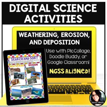 Digital Science Activities Weathering, Erosion, and Deposition Digital Resources - Use this 15 page resource with your 3rd, 4th, 5th, or 6th grade classroom or home school students. You get five activities over key science skills. Projects, formative assessments, and more are included. You'll need access to PicCollage, Doodle Buddy, or Google Classroom to complete these digital resources. {third, fourth, fifth, sixth graders, upper elementary, middle school}