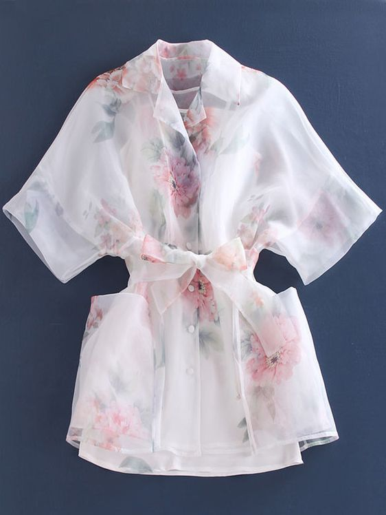Lapel Bat Sleeve Flower Print Organza Shirt Dress-Romwe