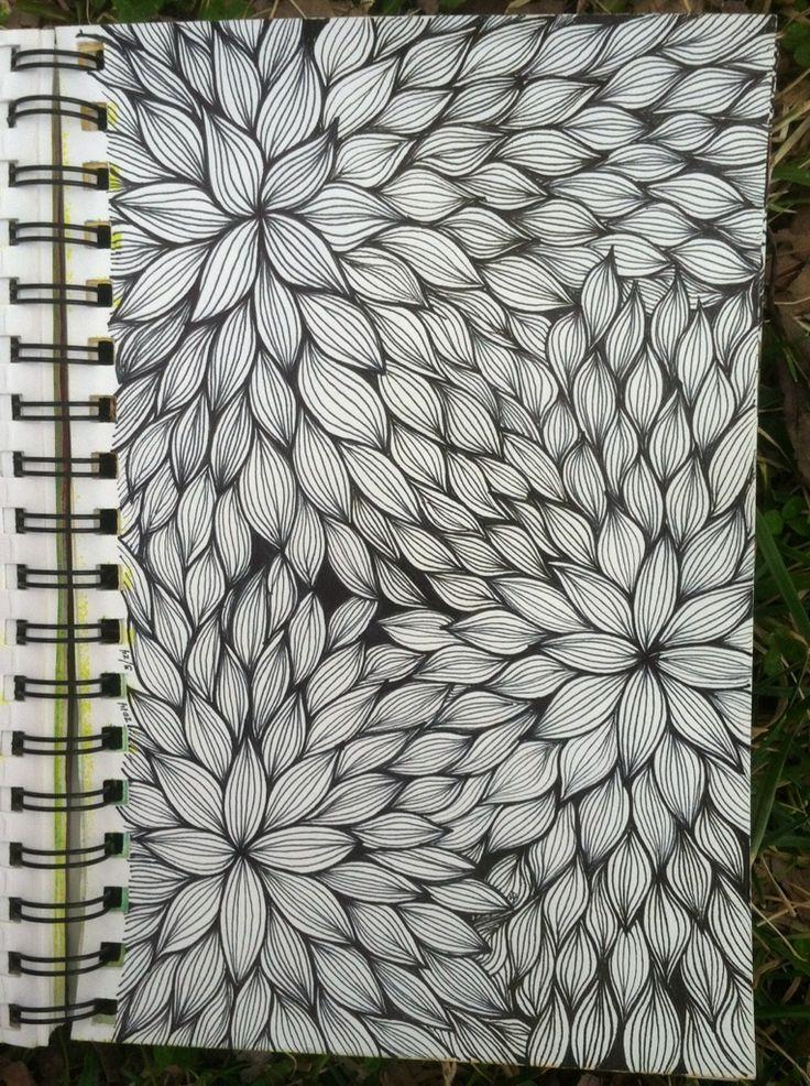Dessin zentangle, stylo noir, remplissage de page, feuilles et végétaux.   Filiz Uçar • 8 saat önce Sketchbook : Floral Line Weaving @ blog.kitskorner.com