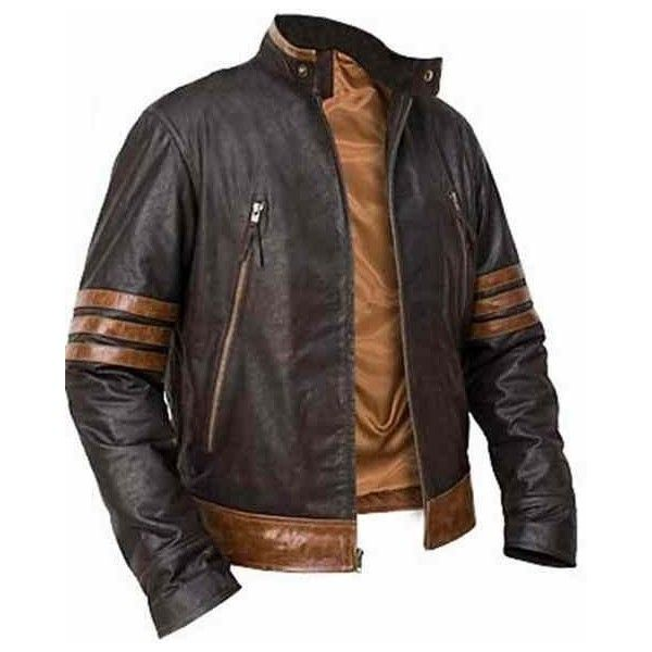 HANDMADE X-MEN VOLVERINE LEATHER JACKET, XMEN VOLVERINE leather JACKET ❤ liked on Polyvore featuring mens, men's clothing, men's outerwear and men's jackets