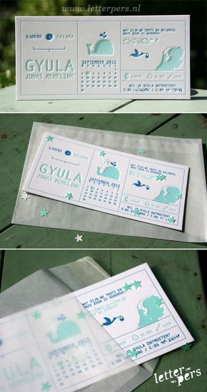 Wat een lief en stoer kaartje! VoorGyulamochten we dit mooie kaartje ontwerpen en drukken met mintgroen en donker blauw. Zijn tweede naam 'Jonas' heeft te maken met het de walvis dus dit hebben we voor hem erin getekend. In de half transparante envelop kun je confetti sterretje toevoegen zodat het helemaal een feest wordt om …