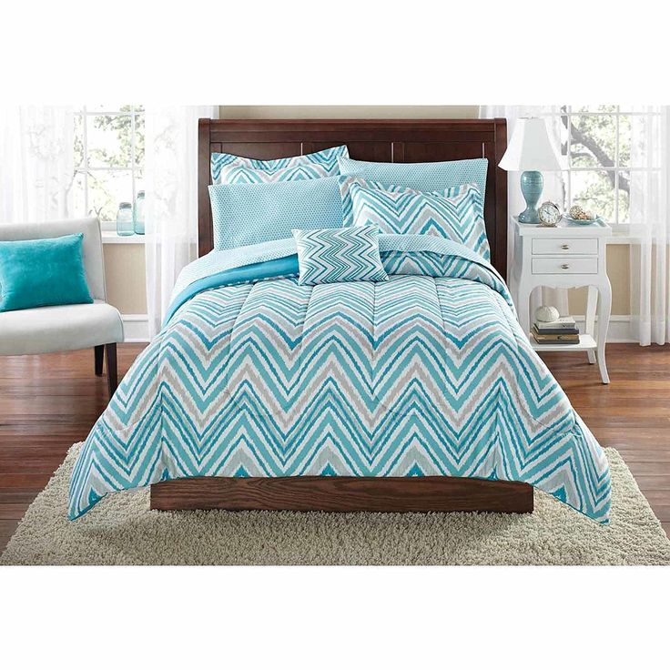 Girls Watercolor Chevron Comforter Twin/TwinXL Set Elegant Stylish ZigZag Stipes Horizontal Zig Zag Stripe Themed Bedding Modern Geometric V Shaped