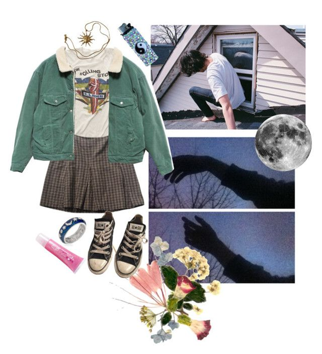 """""""On your roof"""" by sam-penzance ❤ liked on Polyvore featuring MadeWorn, Brandy Melville, Converse, Sugar Cosmetics and Anne Klein"""