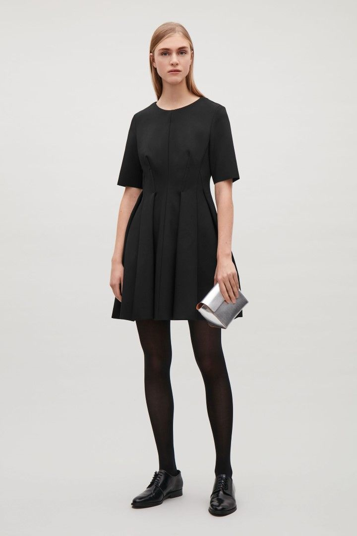COS image 1 of Waisted dress with pleats in Black