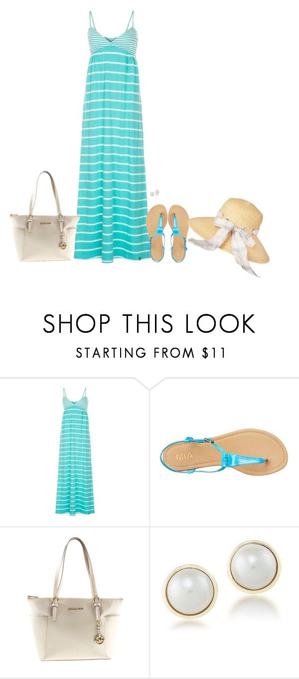 """""""Striped Maxi Dress for Summer"""" by sherbear1974 ❤ liked on Polyvore featuring Rampant Sporting, MIA, Michael Kors, Carolee and Barbour"""