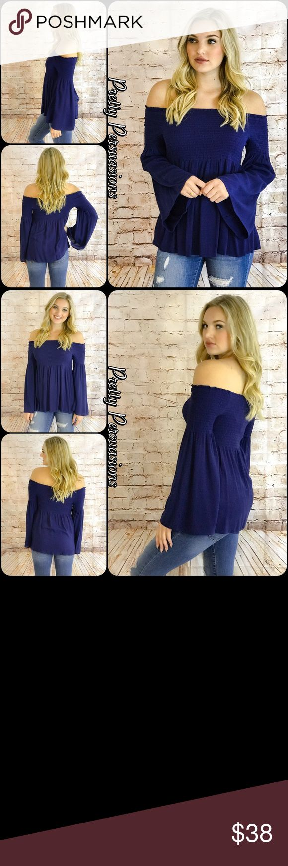 "NWT Navy Long Bell Sleeve Off Shoulder Top NWT Navy Long Bell Sleeve Smocked Off Shoulder Top  Available in S, M, L Measurements taken from a small Length: 15"" Bust: 26"" (Smocked;Has Stretch) Waist: 32"" ** Measurements taken unstretched **  * Also available in Black & Tan in separate listings  Rayon  Features  • smocked stretchy upper for accommodating stay in place fit • long bell sleeves • relaxed, easy fit • soft, breathable material   Bundle discounts available  No pp or trades  Item #…"