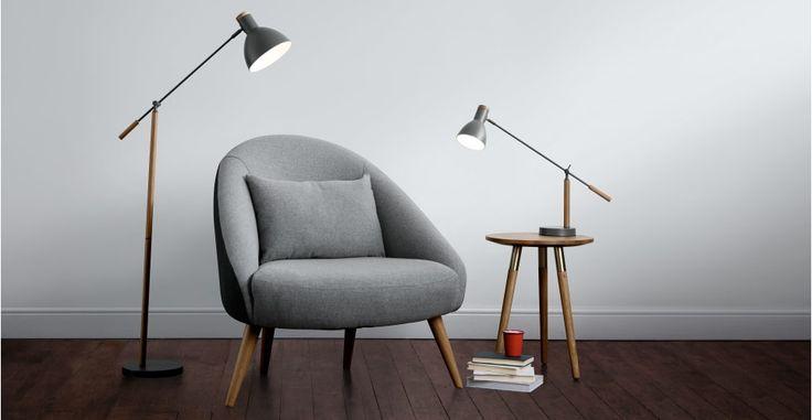 Cohen staande lamp, diepgrijs en Amerikaanse eik   made.com