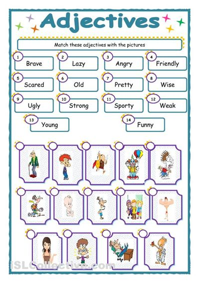 free printable adjective worksheets kindergarten