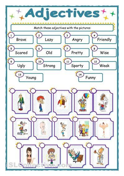 adjective worksheets for elementary mreichert kids worksheets educaci n pinterest. Black Bedroom Furniture Sets. Home Design Ideas