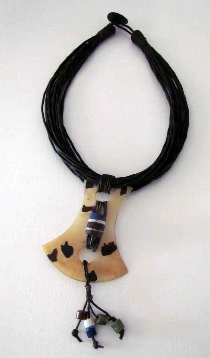 Handmade necklace with cow bone and beads