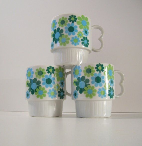 mod coffee cups | Mod...Vintage Coffee Cups...RESERVED FOR by UptownVintageHome