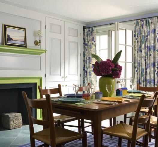 Room Ideas Bold Print Curtains And Bright Paint Warm Up A With Big Windows