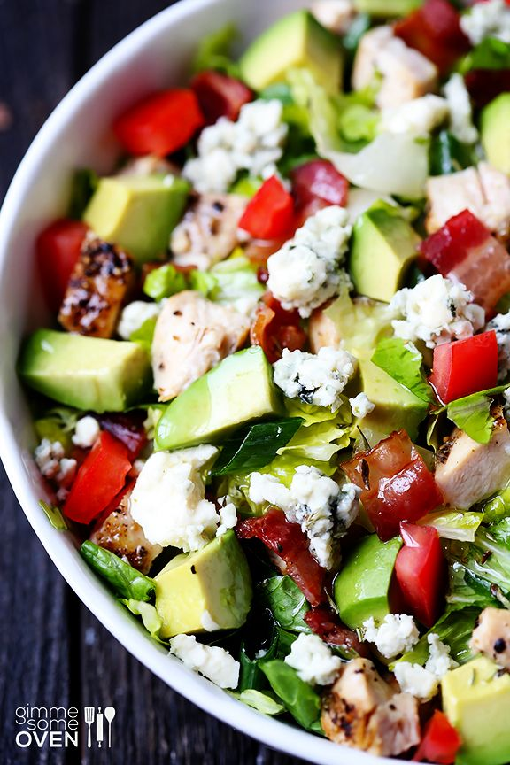 DELICIOUS Panera Chicken Cobb salad with avocado! Ingredients: romaine, grilled chicken, Gorgonzola, bacon, avocado, hard boiled eggs (omit the tomatoes)