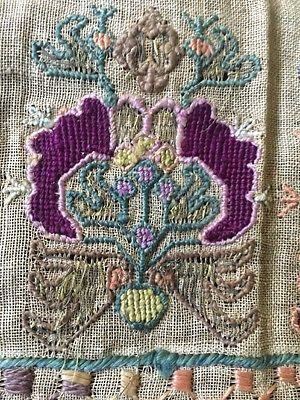 Pair-Of-Window-Valences-Ottoman-Turkish-Silk-Embroidered-Linen-19th-C-Antique