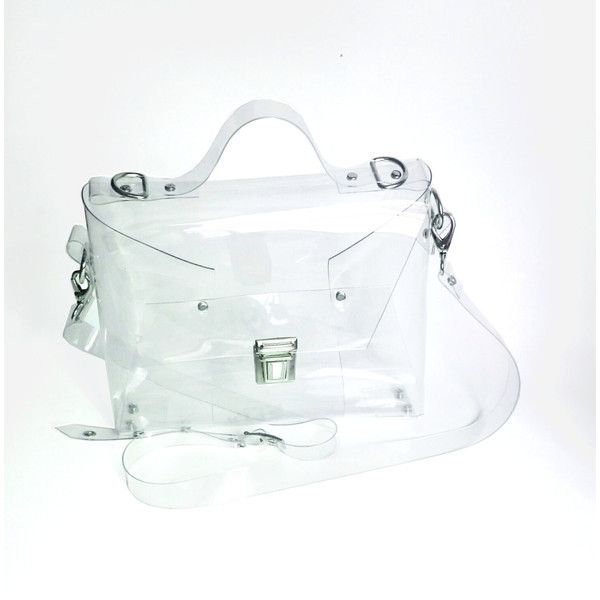 Crossbody bag Clear See Through Plastic PVC Vinyl Transparent... ❤ liked on Polyvore featuring bags, messenger bags, messenger bag, clear plastic bags, clear messenger bag, courier bag and vinyl messenger bag