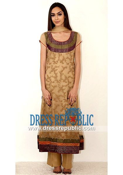 Buy Latest Pakistani Eid Suits Collection  Beige Dress With Trouser from Kamal Beverly Hills. Over 5000 Pakistani Eid Clothes and Shalwar Kameez Dresses for 2014. by www.dressrepublic.com