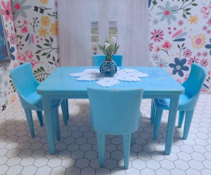 Rare Plasco Kitchen Table Set Vintage Renwal Ideal Dollhouse Furniture Plastic Plasco Vintage