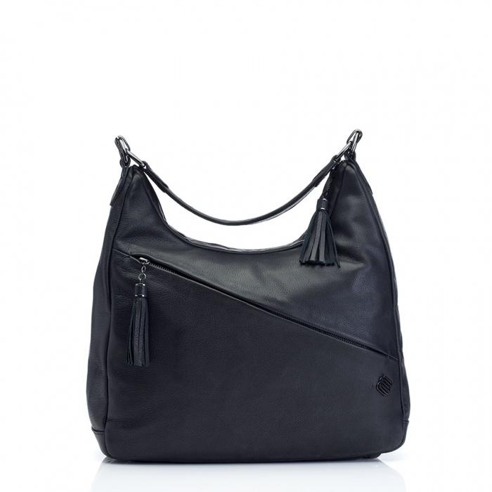 Marshall Bergman Hydra Black Leather Hobo Laptop Bag   Apple ...