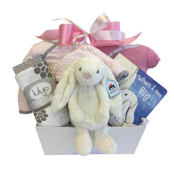 Lovely gift for mothers who are waiting for arrival of their baby girl. #babygirlgiftbasket #giftbasketsforbaby www.mybaskets.ca