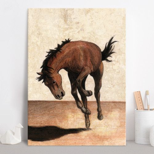 Wild horse (Drawing) Poster made out of metal by @savousepate on @displate #artprint #homedecor #horse #mustang #rodeo #western #brown #beige