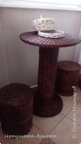 Поделка изделие Плетение А это не хитрая мебель для дачи но к сожалению дача строится дольше чем плетется мебель  Трубочки бумажные фото 1