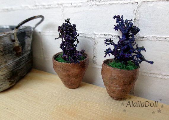 2 Miniature decorations pots mini handmade garden by AlailaDoll