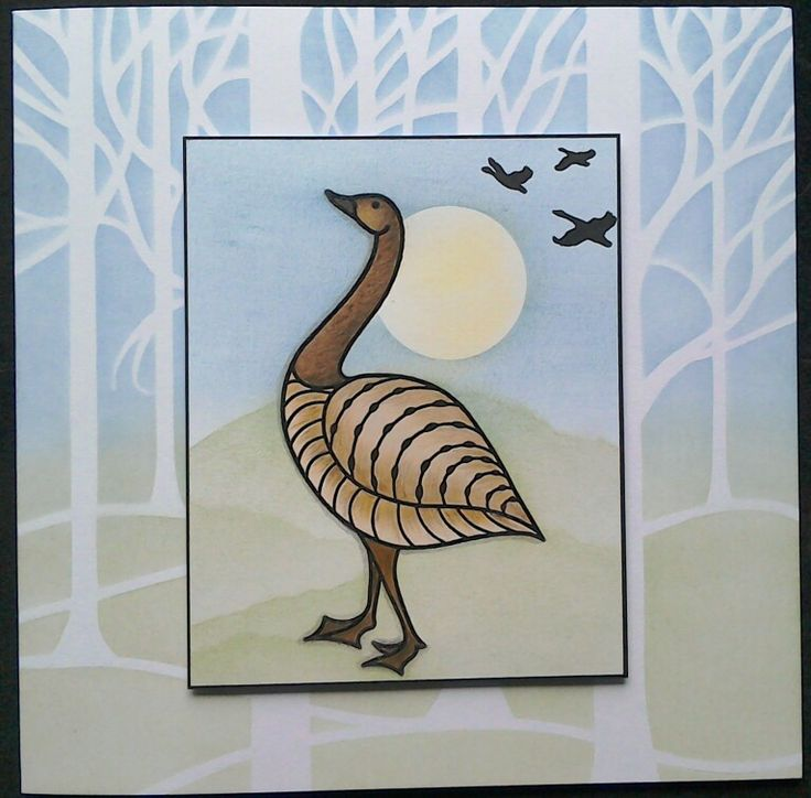 Claritystamp geese, first play with my new stamps - by Lynne Lee