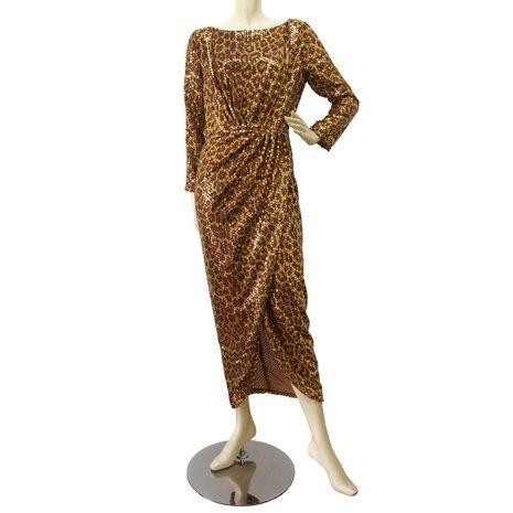 Roberto Cavalli 100% silk animal print sequins open back evening dress  42