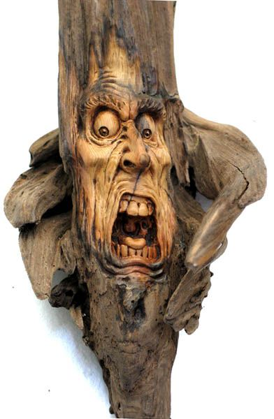 Spirit Reaper by psychosculptor........carved driftwood