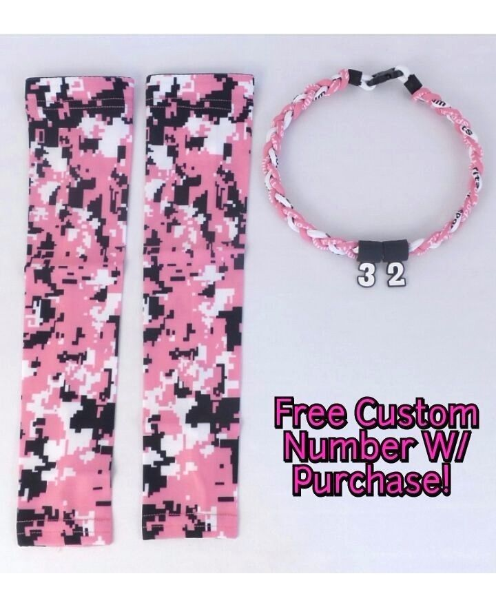 Sports Compression Arm Sleeves PNK BLK WHT Digital Camo & Rope Necklace W/ # #Unbranded