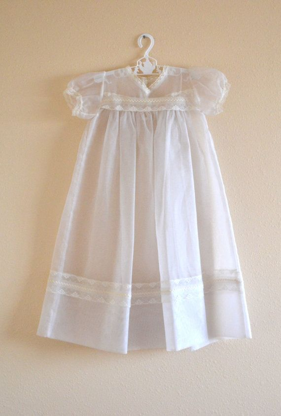 Vintage christening gown organza vintage baby for Making baptism dress from wedding gown