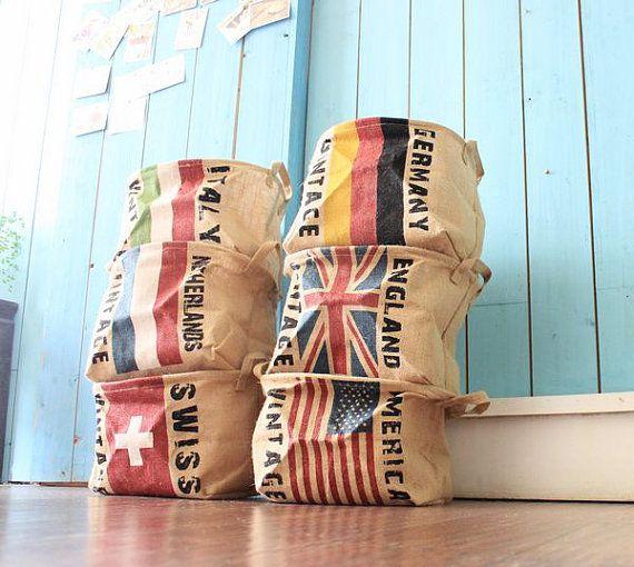 Linen Storage Basket, Recycle Laundry Basket, Country Flag Basket, Vintage Flag Bin, Wide