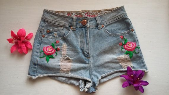 Woman High Waist Jeans Shorts / Girls 90s Denim Shorts / Woman Patch Folk Boho Denim Jeans Shorts / Teenage 90s High Waist Gypsy Denim Short