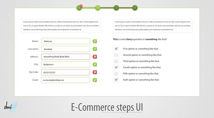 step by step + instant feedback (green/red)