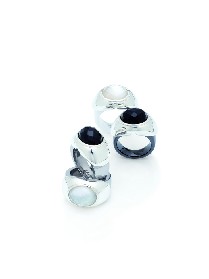 Timeless elegance in black and or white. Our sterling silver covers with mother of pearl and faceted rock crystal or the faceted onyx cover fitted on a variation of Charlotte ring bands.