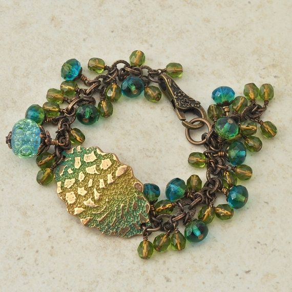 gold maritime bronze cuff bracelet with artisan lampwork and czech glass beads in aqua and gold