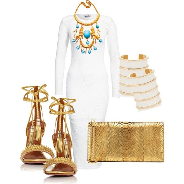 A fashion look from July 2016 featuring John Zack dresses, Aquazzura sandals e Tom Ford clutches. Browse and shop related looks.