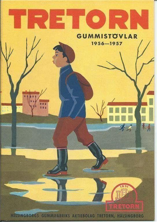 Reklam för TRETORN Gummistövlar 1956-57
