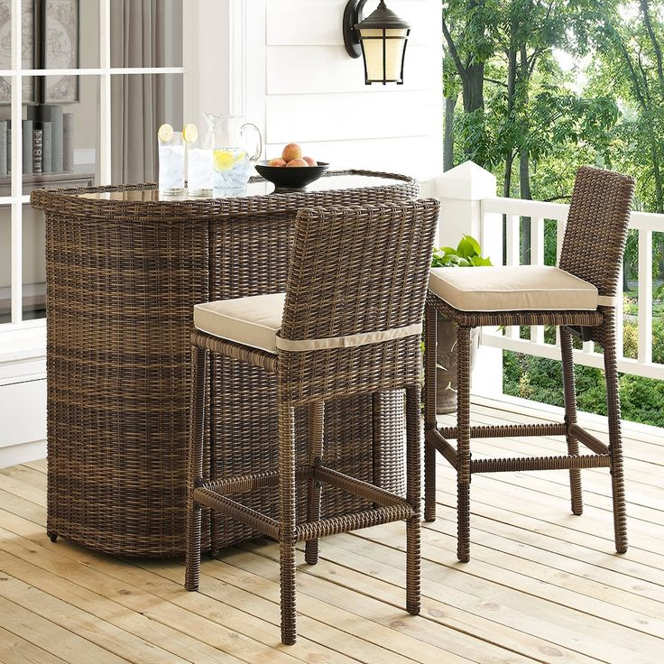 Crosley Furniture Bradenton Outdoor Wicker Bar 3 piece