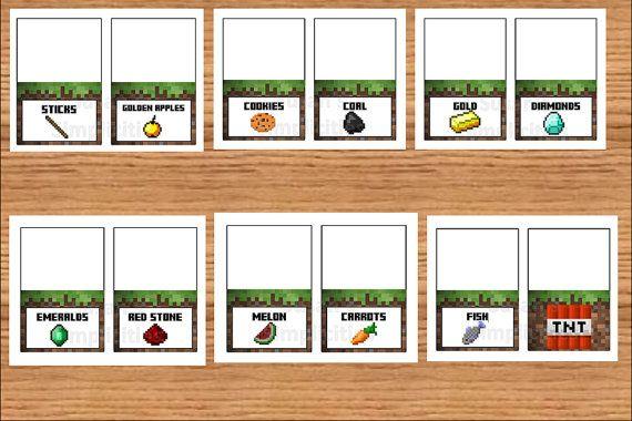 12 minecraft food tent cardsdigital printable file