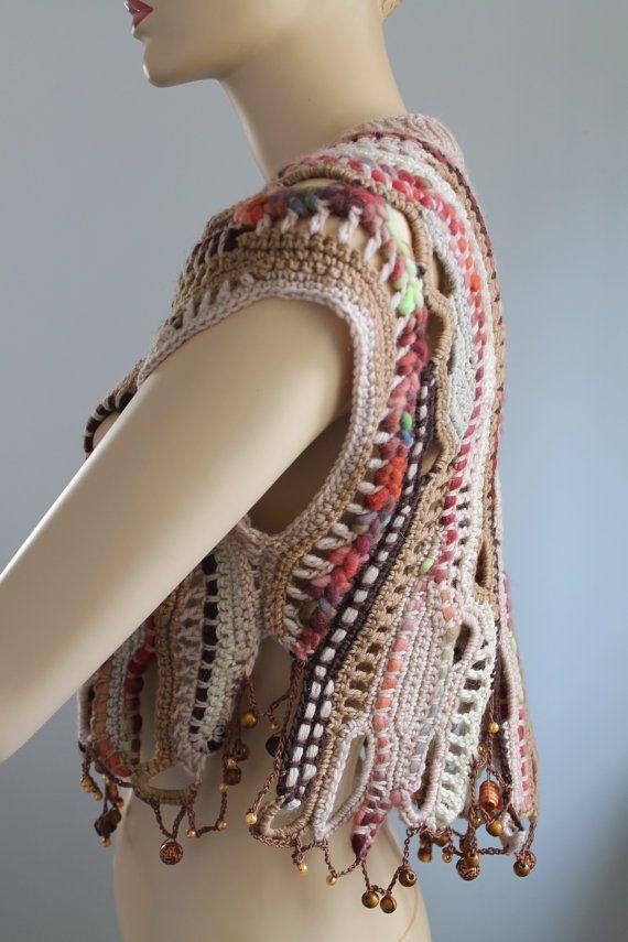 Freeform Crochet Vest Sweater Wearable Art por levintovich