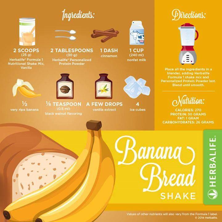 Banana Bread Herbalife shake recipe - resep shake Herbalife. Klik disini untuk mulai program anda