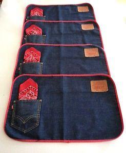 denim placemat | LEVIS-vintage-BIG-E-placemats-1960s-jeans-denim-fast-color-bandana-set ...