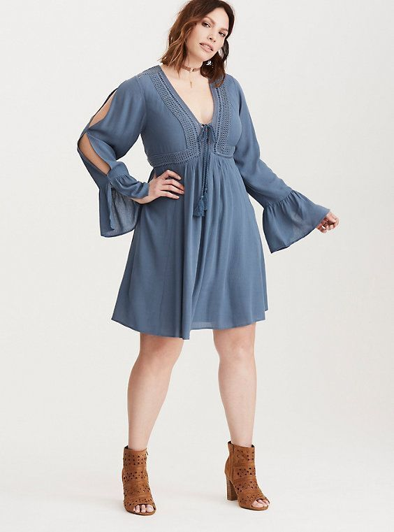 dc6e13e54 Size 5 Torrid Gauze Lace Up Skater Eyelet Dress Blue BOHO Long Bell Sleeves   Torrid  SkaterDressTunicDress  Casual