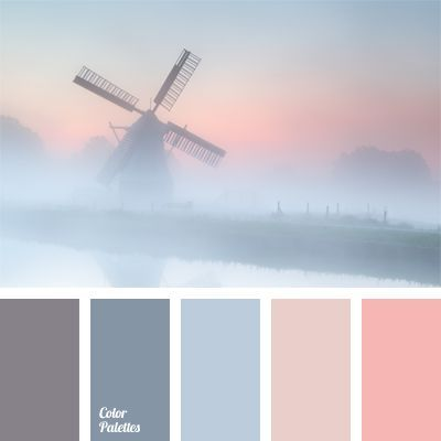 This color combination will appeal to the fans of pastel tones. This palette should be applied in decoration of a bedroom, as well as will do for girls wit