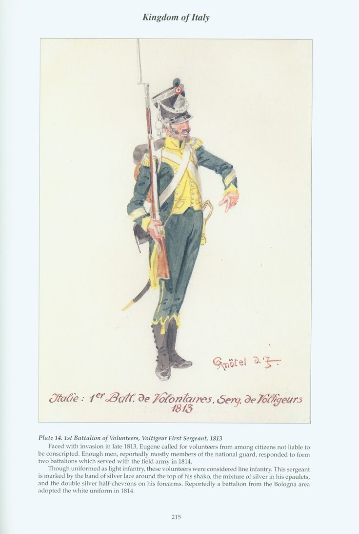 Kingdom of Italy: Plate 14: 1st Battalion of Volunteers, Voltigeur First Sergeant, 1813