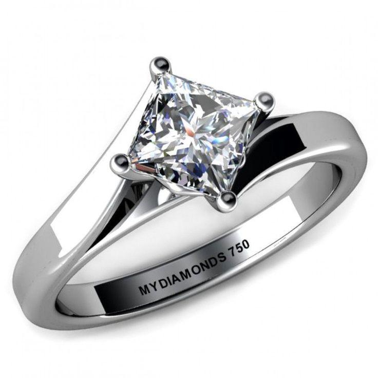 Venice GIA Princess Cut Diamond Solitaire Ring. #Engagement #Wedding #EngagementRing #PrincessDiamond #diamondsolitaire