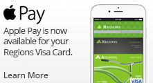 Apple Pay is now available for your Regions Visa Card